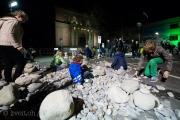 Neben dem Historischen Museum Bern konnten die Kinder mit Steinen bauen, wie sie gerade wollten.