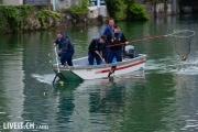 Die Polizei fischt unterhalb des Zieleinlaufes die entkommenen Plastiktierchen aus dem Wasser.