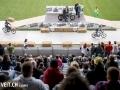 Motorradfahrer an der 3. Oldtimershow am 23. Mai 2015 in der Stockhorn Arena in Thun.