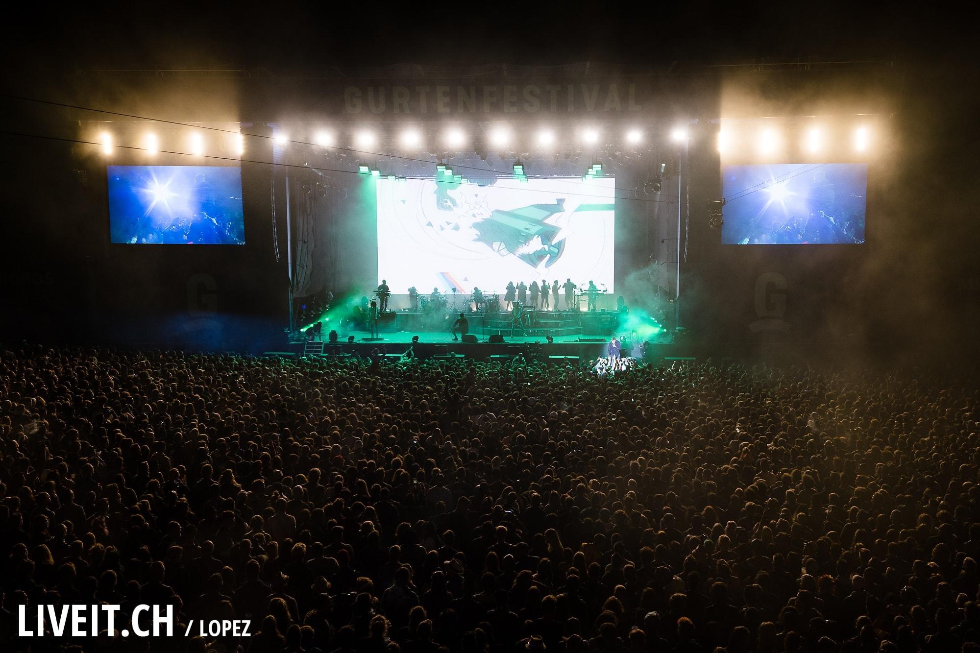 Gorillaz fotografiert am Gurtenfestival 2018 in Bern. (Manuel Lopez for Gurtenfestival)