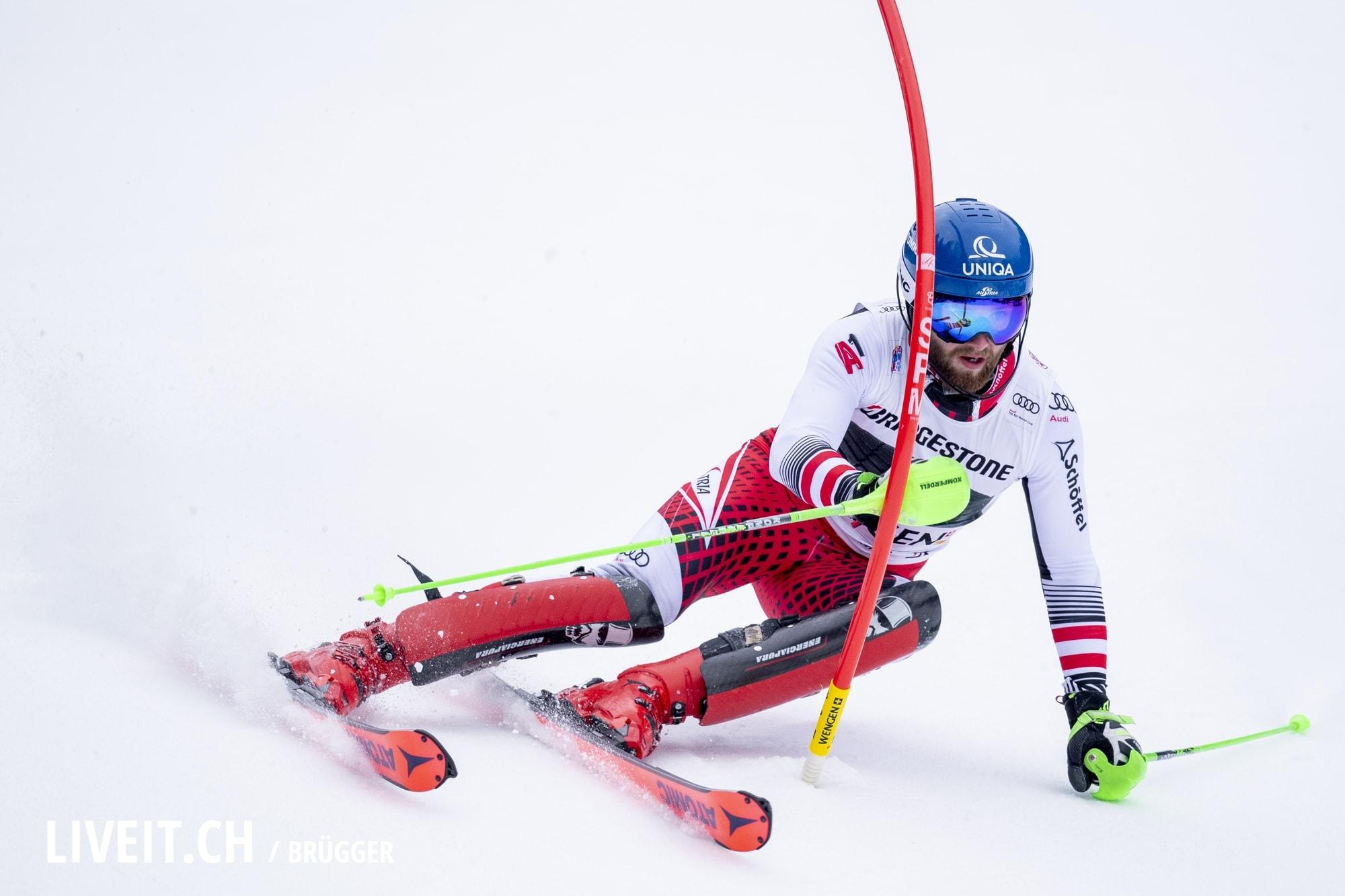 Marco Schwarz (AUT) fotografiert am Freitag, 18. Januar 2019 am Lauberhornrennen in der Disziplin: Slalom Alpine Kombination. (Fotografiert von Dominic Bruegger liveit.ch)