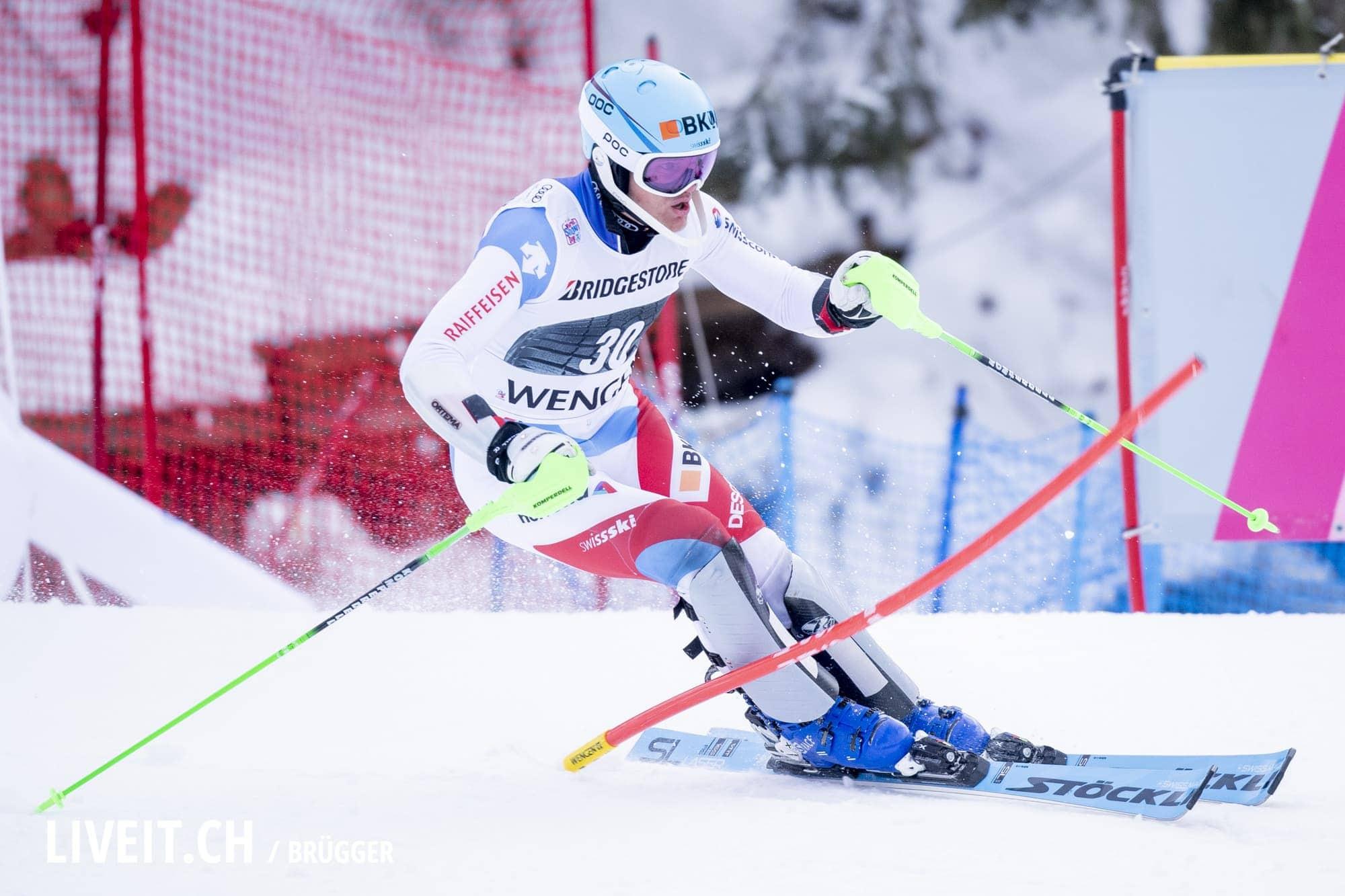 Stefan Rogentin (SUI) fotografiert am Freitag, 18. Januar 2019 am Lauberhornrennen in der Disziplin: Slalom Alpine Kombination. (Fotografiert von Dominic Bruegger liveit.ch)