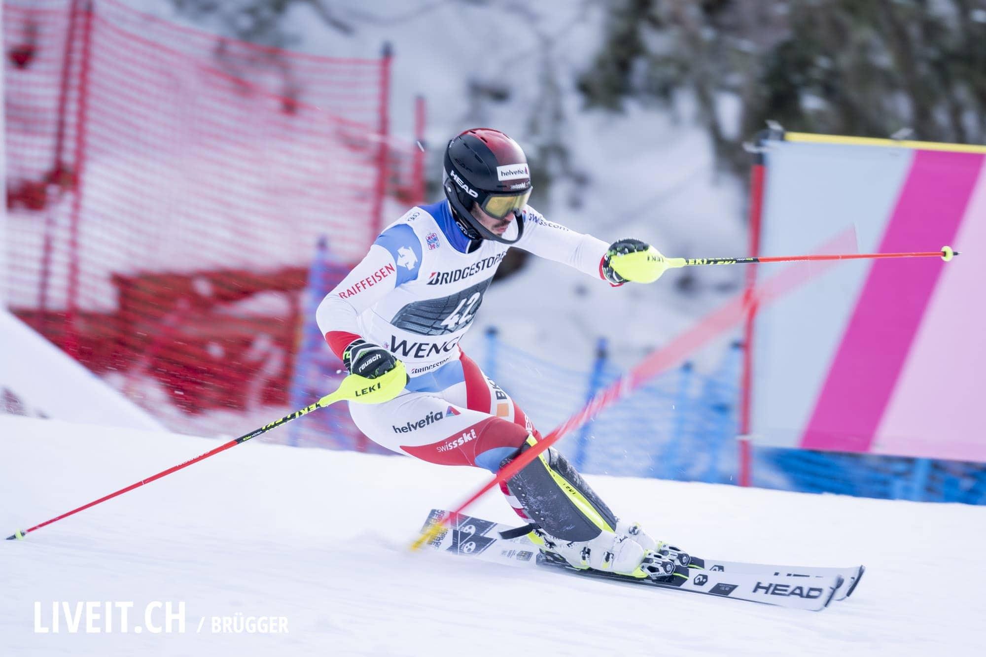 Gilles Roulin (SUI) fotografiert am Freitag, 18. Januar 2019 am Lauberhornrennen in der Disziplin: Slalom Alpine Kombination. (Fotografiert von Dominic Bruegger liveit.ch)