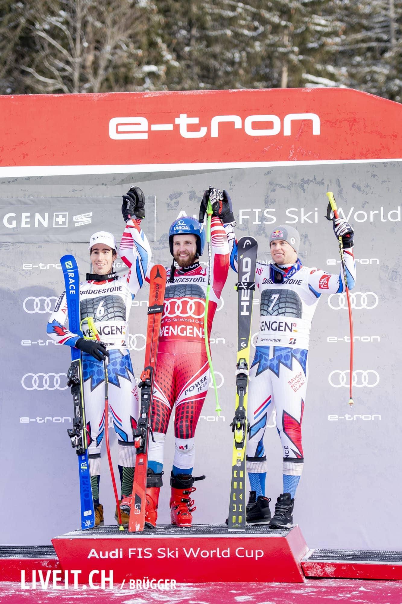 Siegerpodium fotografiert am Freitag, 18. Januar 2019 am Lauberhornrennen in der Disziplin: Slalom Alpine Kombination. 1. Marco Schwarz (AUT), 2. Victor Muffat-Jeandet (FRA), 3. Alexis Pinturault (FRA)(Fotografiert von Dominic Bruegger liveit.ch)
