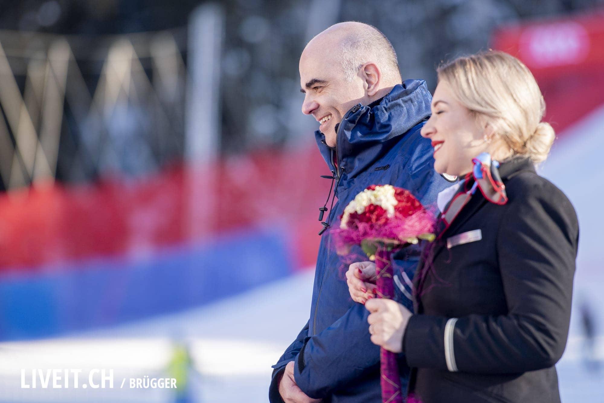 Bundesrat Alain Berset fotografiert am Samstag, 19. Januar 2019 am Lauberhornrennen in der Disziplin: Abfahrt. (Fotografiert von Dominic Bruegger liveit.ch)