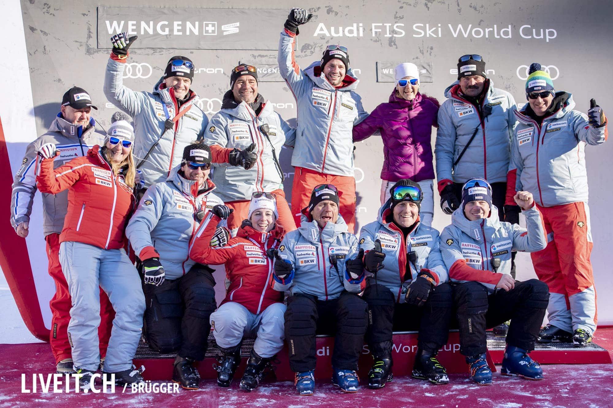 SwissSki Team fotografiert am Samstag, 19. Januar 2019 am Lauberhornrennen in der Disziplin: Abfahrt. (Fotografiert von Dominic Bruegger liveit.ch)