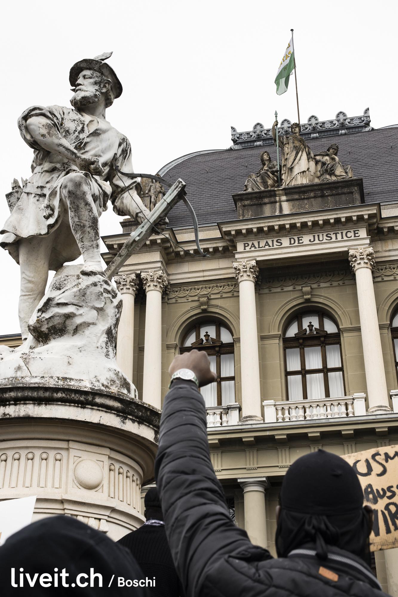 Die Back lives matter Kundgebung fotografiert am Sonntag den 08.Juni in Lausanne. Bild: Simon Boschi/liveit.ch(liveit.ch/boschi)